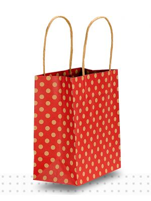 Paper Bags with Handles TODDLER Red Spots Regular