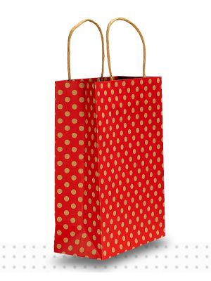 Paper Bags with Handles JUNIOR Red Spots Regular