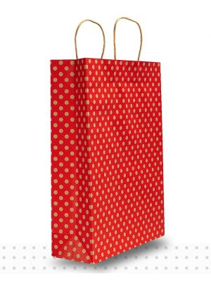 Paper Bags with Handles MIDI Red Spots Regular