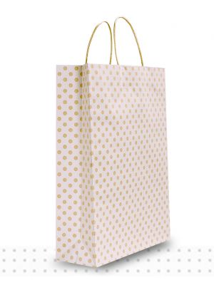 Paper Bags with Handles MIDI White Spots Regular