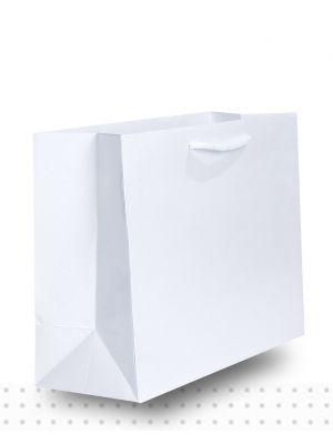 Laminated Carry Bags MEDIUM Gloss White Deluxe