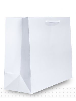 Laminated Carry Bags LARGE Gloss White Deluxe
